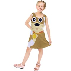 Dog Doggie Bone Dog Collar Cub Kids  Tunic Dress by Nexatart