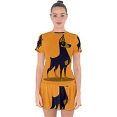 Illustration Silhouette Art Mammals Drop Hem Mini Chiffon Dress