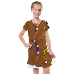 Bulldog Cartoon Angry Dog Kids  Cross Web Dress by Nexatart