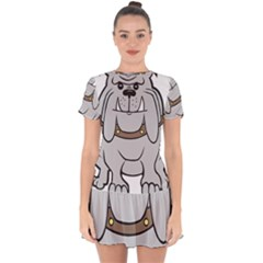 Gray Happy Dog Bulldog Pet Collar Drop Hem Mini Chiffon Dress by Nexatart