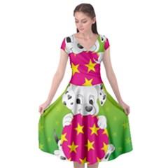Dalmatians Dog Puppy Animal Pet Cap Sleeve Wrap Front Dress