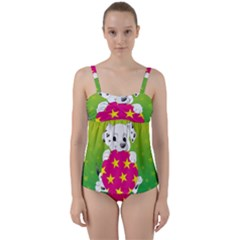 Dalmatians Dog Puppy Animal Pet Twist Front Tankini Set