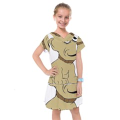 Dog Cute Sitting Puppy Pet Kids  Drop Waist Dress by Nexatart
