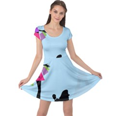 Woman Girl Lady Female Young Cap Sleeve Dress