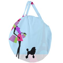 Woman Girl Lady Female Young Giant Round Zipper Tote