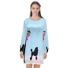 Woman Girl Lady Female Young Long Sleeve Chiffon Shift Dress  by Nexatart