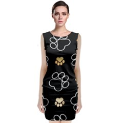 Dog Pawprint Tracks Background Pet Classic Sleeveless Midi Dress by Nexatart