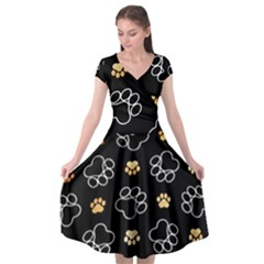 Dog Pawprint Tracks Background Pet Cap Sleeve Wrap Front Dress by Nexatart