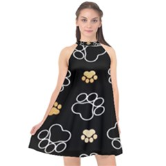 Dog Pawprint Tracks Background Pet Halter Neckline Chiffon Dress