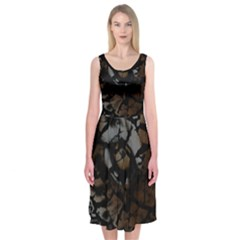 Earth Texture Tiger Shades Midi Sleeveless Dress