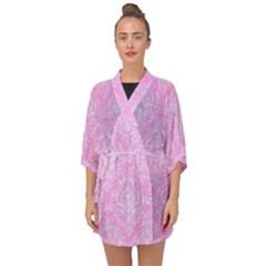 Damask1 White Marble & Pink Colored Pencil Half Sleeve Chiffon Kimono by trendistuff