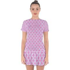 Circles3 White Marble & Pink Colored Pencil Drop Hem Mini Chiffon Dress by trendistuff