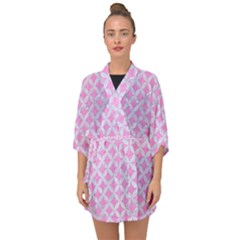 Circles3 White Marble & Pink Colored Pencil Half Sleeve Chiffon Kimono by trendistuff