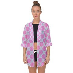 Circles2 White Marble & Pink Colored Pencil (r) Open Front Chiffon Kimono by trendistuff