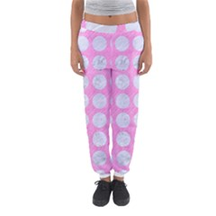 Circles1 White Marble & Pink Colored Pencil Women s Jogger Sweatpants by trendistuff