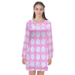 Circles1 White Marble & Pink Colored Pencil Long Sleeve Chiffon Shift Dress  by trendistuff