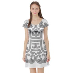 Chinese Traditional Pattern Short Sleeve Skater Dress