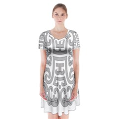 Chinese Traditional Pattern Short Sleeve V Neck Flare Dress by Nexatart