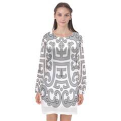 Chinese Traditional Pattern Long Sleeve Chiffon Shift Dress