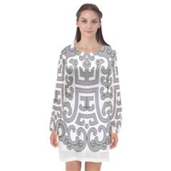 Chinese Traditional Pattern Long Sleeve Chiffon Shift Dress  by Nexatart