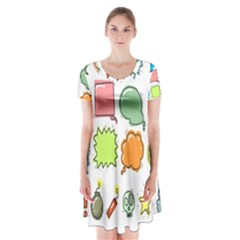 Set Collection Balloon Image Short Sleeve V Neck Flare Dress by Nexatart