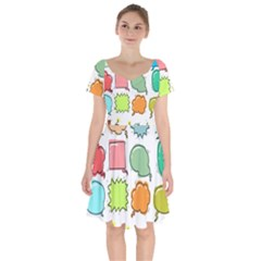 Set Collection Balloon Image Short Sleeve Bardot Dress by Nexatart