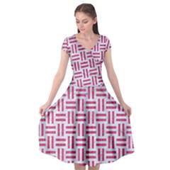 Woven1 White Marble & Pink Denim (r) Cap Sleeve Wrap Front Dress by trendistuff