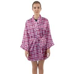 Woven1 White Marble & Pink Denim Long Sleeve Kimono Robe