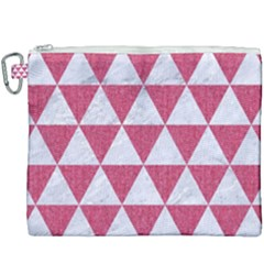 Triangle3 White Marble & Pink Denim Canvas Cosmetic Bag (xxxl)