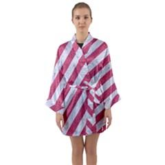 Stripes3 White Marble & Pink Denim (r) Long Sleeve Kimono Robe