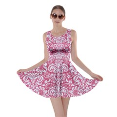 Damask2 White Marble & Pink Denim Skater Dress by trendistuff