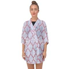 Tile1 White Marble & Pink Glitter (r) Half Sleeve Chiffon Kimono by trendistuff