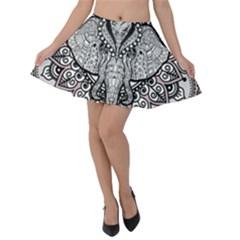 Ornate Hindu Elephant  Velvet Skater Skirt by Valentinaart