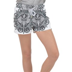 Ornate Hindu Elephant  Women s Velour Lounge Shorts by Valentinaart