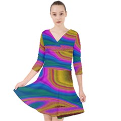 Colorful Waves Quarter Sleeve Front Wrap Dress by LoolyElzayat