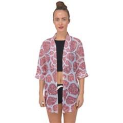 Skin1 White Marble & Pink Glitter (r) Open Front Chiffon Kimono by trendistuff