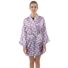 Scales3 White Marble & Pink Glitter (r) Long Sleeve Kimono Robe by trendistuff