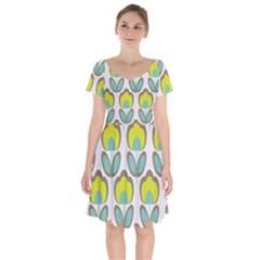Floral Retro 70s Short Sleeve Bardot Dress by goodart