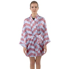Chevron2 White Marble & Pink Glitter Long Sleeve Kimono Robe by trendistuff