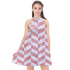Chevron1 White Marble & Pink Glitter Halter Neckline Chiffon Dress  by trendistuff
