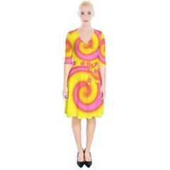 Swirl Yellow Pink Abstract Wrap Up Cocktail Dress by BrightVibesDesign