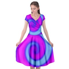 Swirl Pink Turquoise Abstract Cap Sleeve Wrap Front Dress by BrightVibesDesign
