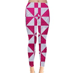 Triangle1 White Marble & Pink Leather Leggings  by trendistuff