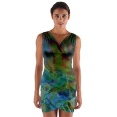 Rainbow Patern Color Wrap Front Bodycon Dress by goodart