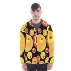 Retro Circles Background Yellow Hooded Windbreaker (men) by goodart