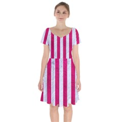 Stripes1 White Marble & Pink Leather Short Sleeve Bardot Dress by trendistuff
