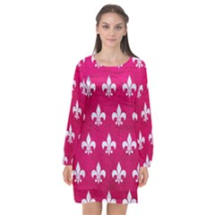 Royal1 White Marble & Pink Leather (r) Long Sleeve Chiffon Shift Dress  by trendistuff