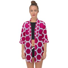 Hexagon2 White Marble & Pink Leather Open Front Chiffon Kimono by trendistuff