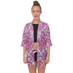 Damask1 White Marble & Pink Leather (r) Open Front Chiffon Kimono by trendistuff