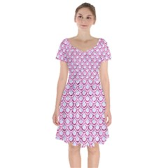 Scales2 White Marble & Pink Marble (r) Short Sleeve Bardot Dress by trendistuff